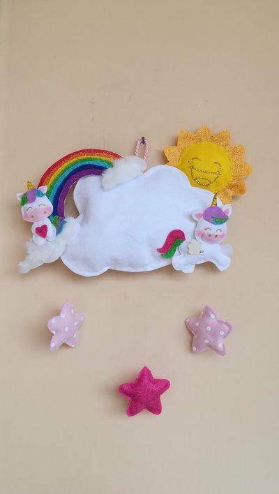 Fiocco nascita, mod. unicorno, 43 x 35 cm