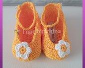 Scarpine aa ballerina per bambine, gialle con margherita bianca, realizzate in 100% cotone italiano.