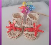 Sandali per neonata, sabbia e corallo, con stella marina e bottone, 100% cotone italiano