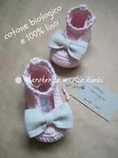 Scarpine ballerine neonata - cotone bio - fiocco puro lino - fatte a mano - uncinetto