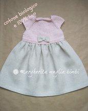 Abito neonata/bambina - cotone biologico rosa e puro lino - fatto a mano