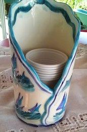 Contenitore porta bicchieri di plastica di ceramica con motivi di barche e onde uguale al porta tovaglioli