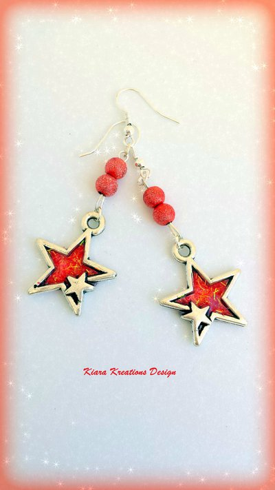 Orecchini rossi, stelle in resina, orecchini estivi, bijoux in resina, regalo compleanno, gioielli in resina, bijoux per l'estate