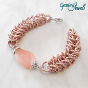Bracciale chainmaille rosa antico, alluminio e resina