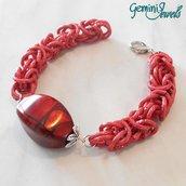 Bracciale chainmaille rosso, alluminio e resina