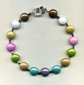 COLLARINO con pastiglie metallizzate color pastello e cubetti di pirite