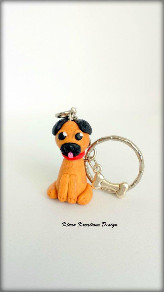 Portachiavi in fimo cane carlino, miniatura cane, idee regalo compleanno, regalo amanti dei cani, gioielli cane, accessori carlino