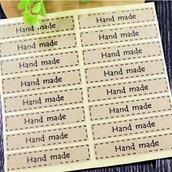 "Etichette 48 pezzi set ""hand made"" su carta kraft"