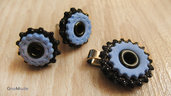 COLLEZIONE STEAMGUM 8 - PARURE ciondolo + orecchini - acciaio, azzurro polvere e nero