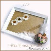 "Bomboniera ""Just Married cuore bronzo  "" portafoto cornice sequinaposto sposi regalofimo cernit"