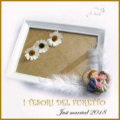 """Bomboniera """" Just married cuore oro  """" portaconfetti portafoto cornice matrimonio kawaii idea regalo sposi personalizzabile"""
