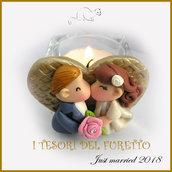 """Bomboniera segnaposto """" Just married cuore oro """" portaconfetti portacandela matrimonio kawaii idea regalo sposi personalizzabile"""
