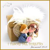 """Bomboniera """" Just married cuore oro """" portaconfetti scatolina segnaposto  matrimonio kawaii idea regalo sposi personalizzabile"""
