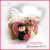 """Bomboniera """" Just married cuore rosso  """" portaconfetti segnaposto scatolina matrimonio kawaii idea regalo sposi personalizzabile"""