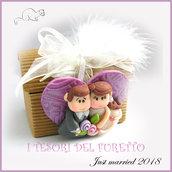 """Bomboniera """" Just married cuore viola   """" scatolina  portaconfetti segnaposto matrimonio kawaii idea regalo sposi personalizzabile"""
