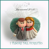 """Bomboniera portaconfetti tulle  """" Just married cuore verde  """" segnaposto  matrimonio kawaii idea regalo sposi personalizzabile magnete"""