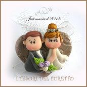 """Bomboniera portaconfetti tulle  """" Just married cuore bronzo """" segnaposto  matrimonio kawaii idea regalo sposi personalizzabile"""