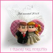 """Bomboniera portaconfetti tulle  """" Just married cuore rosa  """" portaconfetti segnaposto  matrimonio kawaii idea regalo sposi personalizzabile"""