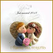 """Bomboniera portaconfetti tulle  """" Just married cuore oro """" portaconfetti magnete segnapostomatrimonio kawaii idea regalo sposi personalizzabile"""