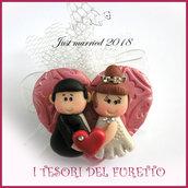 """Bomboniera portaconfetti tulle """" Just married cuore rosso  """" portaconfetti segnaposto matrimonio kawaii idea regalo sposi personalizzabile"""