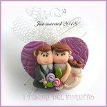 """Bomboniera portaconfetti tulle  """" Just married cuore viola  """" segnaposto matrimonio kawaii idea regalo sposi personalizzabile"""