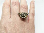 Anello rosa grigia e foglie nere, anello dorato, elegante, rosa dorata, anello romantico, pasta di mais, porcellana fredda, anello fiore