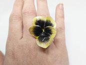 Anello pansè, violetta del pensiero, violetta, anello viola del pensiero, primavera, anello pansè giallo, pasta di mais, porcellana fredda