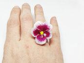 Anello pansè, anello viola del pensiero, viola del pensiero, pasta di mais, porcellana fredda, anello violetta, anello pansè, anello fiore