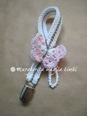 Portaciuccio bianco con farfalla rosa per neonata - fatto a mano - uncinetto - Battesimo