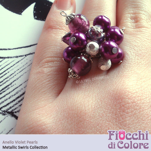 Violet Pearls Ring