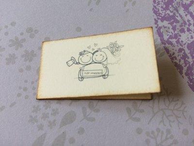 Bigliettini matrimonio bomboniera rettangolari immagine sposini cartoncino avorio e scritta bordeaux