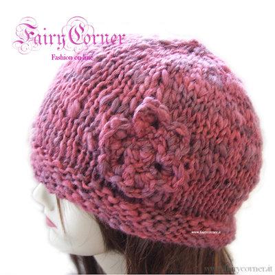 berretto cappello lana rosa con fiore