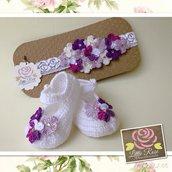 Completino di scarpini e fascia elastica per bambina bu Little Rose Handmade