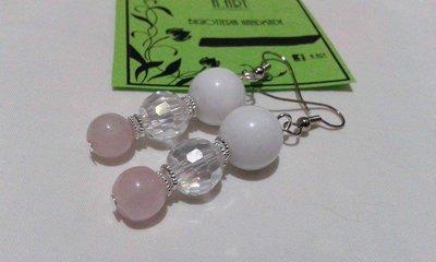 Orecchini di agata bianca e quarzo rosa
