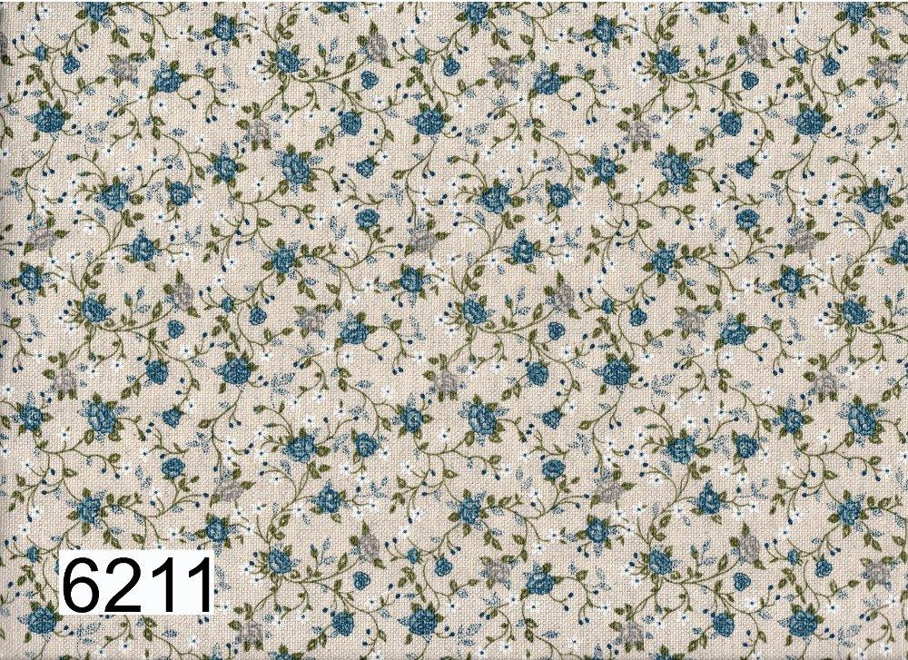 "Tessuto panama ""medioevale"" roselline blu 30 cm x 280 cm"
