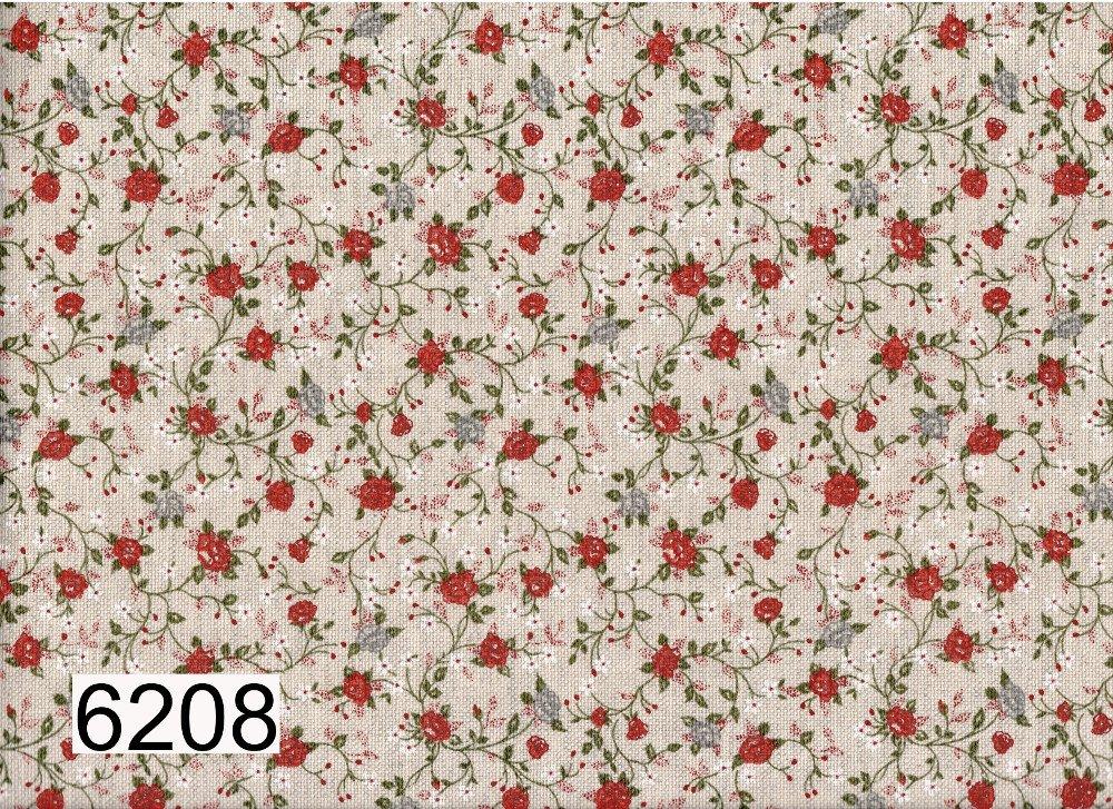 "Tessuto panama ""medioevale"" roselline rosse 30 cm x 280 cm"