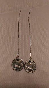 Orecchini a filo in argento 925 con 10 cent olandesi