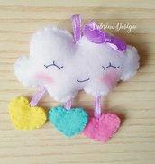 Bomboniera nuvola, confettata nascita, bomboniera battesimo, nuvola feltro, bomboniere feltro, nuvoletta pioggia, nuvoletta nascita