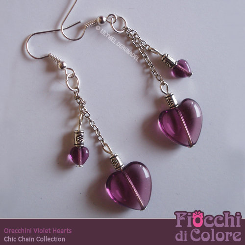 Violet Hearts Earrings