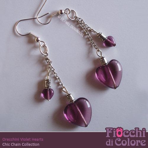 Violet Hearts Earrings