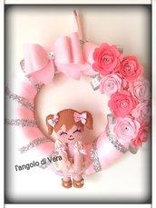 Fiocco nascita coccarda bambina con rose