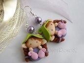 Orecchini Follettina Verde- lilla- rosa