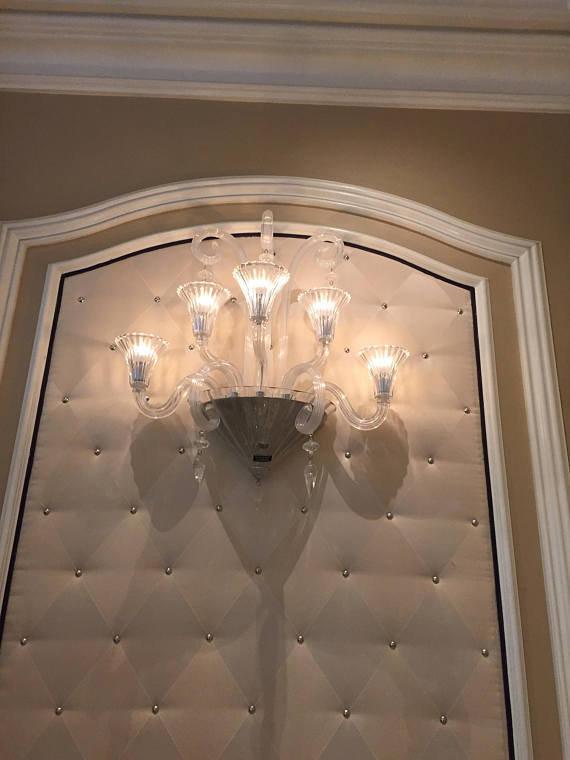 Applique o lampada da muro, in vetro soffiato di Murano, color cris ...