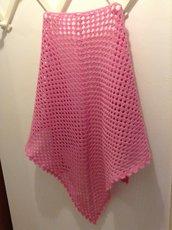 Scialle in lana - uncinetto - colore rosa