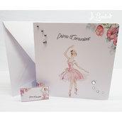 Invito prima comunione Cresima Ballerina Danza completo stampa busta biglietto