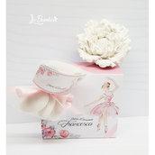 Bomboniera Ballerina COMUNIONE CRESIMA BATTESIMO peonia fiore