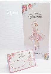 menù + segnaposto prima comunione Cresima Ballerina Danza completo stampa personalizzata