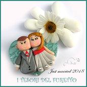 """Bomboniera applicazione """" Just married """" cuore verde magnete decorazione fai da te confetti portaconfetti matrimonio nozze personalizzabile segnaposto"""