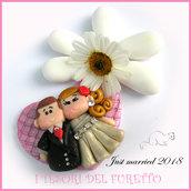 """Bomboniera """" Just married """" cuore rosa applicazione decorazione fai da te portaconfetti economica personalizzabile segnaposto matrimonio sposi fimo nozze"""