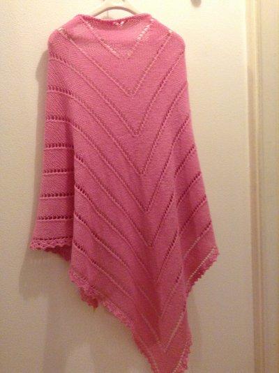 Scialle in lana - maglia - colore rosa